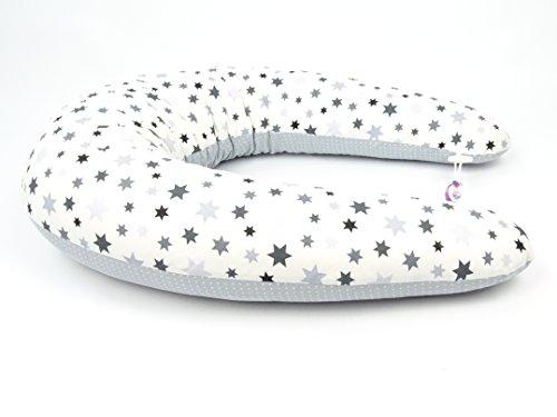 Coussin d'allaitement XXL pour bébé 210 cm Coussin de positionnement latéral 100% coton avec fermeture Éclair (différents motifs tels que étoiles, fleurs ou points au choix)
