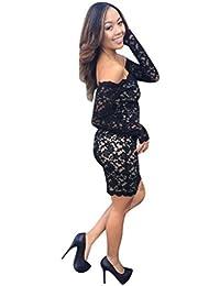 FNKDOR Mujeres de hombro de encaje de manga larga de cóctel Mini vestido corto