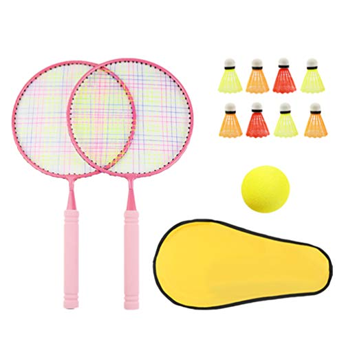 LIOOBO Kinder Badmintonschläger Set Elastische Badminton Trainingsgerät Interaktive Schläger für Outdoor Kinder Kinder