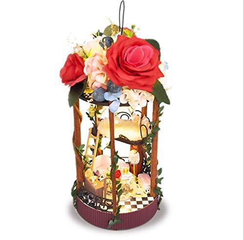 Knowled DIY Kabine LED Handgemachte Thema Holzkabine Hängenden Korb Cottage Weihnachtsdekoration Modell Spielzeug Set - Frohe Weihnachten -