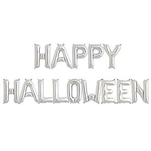 ballonfritz® Luftballon HAPPY HALLOWEEN -Schriftzug in SILBER - XXL Folienballon als Halloween Party Deko, Begrüßung, Geschenk, Fotorequisite oder Empfang-Überraschung