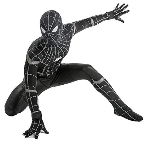 Männer Kostüm Schwarze Spiderman - QWEASZER Spider-Man: Heimkehr, Schwarzes Spiderman-Kostüm Erwachsene Männer Frauen Zentai Kleidung Halloween Lycra elastische Strumpfhosen Movie Stage Requisiten,Black Spiderman-L