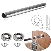 Round Rail 25mm Wardrobe Polished Chrome Hanging Tube Cut to Size + END SUPPORTS and SCREWS