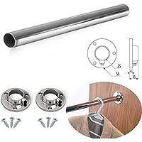 Barra redonda de 25 mm, tubo de cromo pulido para colgar a medida + soportes y tornillos.
