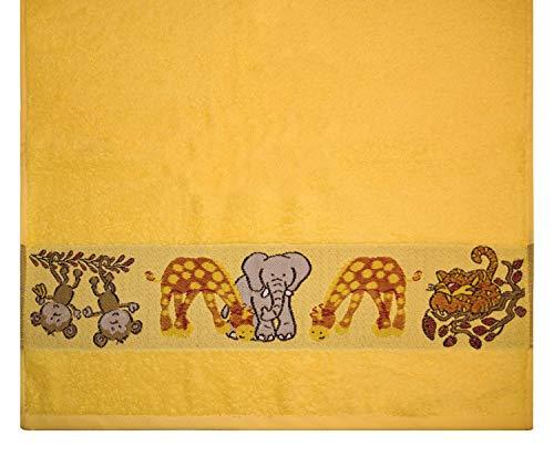 Kinderhandtuch Ökotex100 50 x 100 cm Baumwolle Gelb Tiere  -
