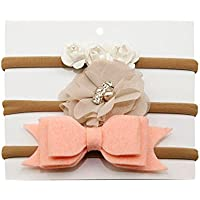 Kolylong 3Pcs Newborn Baby Cute Elastic Floral Headband Sets Hair Kids Girls Bowknot Hairband Kit (C)