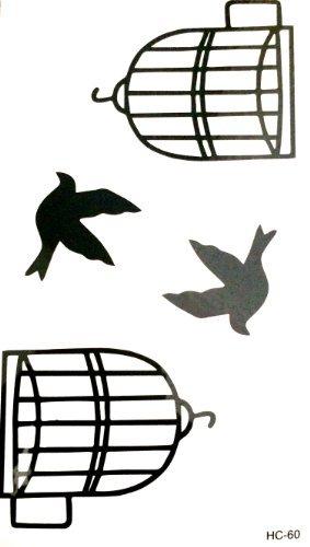 LT.31 - Tattoo Ephémère - Tatouage Temporaire - Planche 2 Oiseaux 2 Cages 4754ef0a4cf