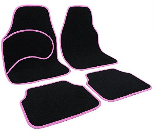 Woltu 7136 universale tappeto per auto tappetini in moquette antiscivolo cucitura rosa 4 pezzi