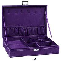 DYHM Watch Box Lockable Wooden Capacity Large Velvet Jewelry Earrings Storage Case Display Box