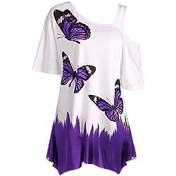 MERICAL T-Shirt d'impression de Papillon de Grande Taille pour Femmes, Chemisier à Manches Courtes