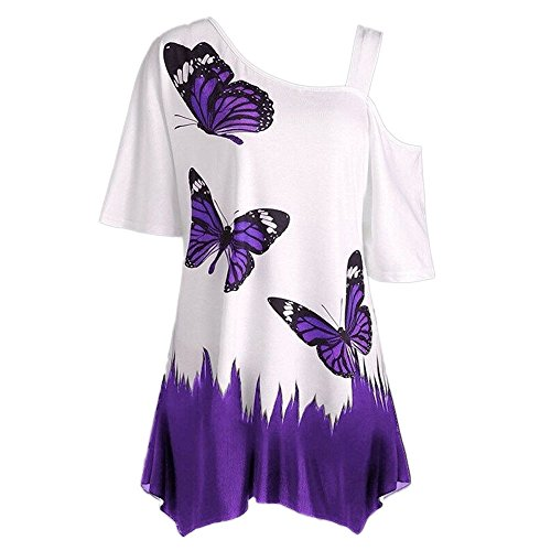 HULKY Frauen Bluse Sommer Schmetterling Druck T-Shirt Kurzarm Kalte Schulter Casual Large Size Top(lila,XL)