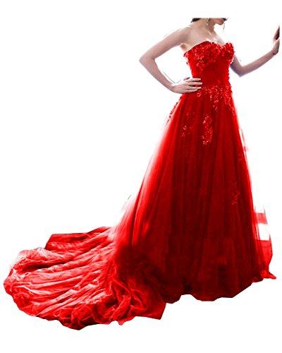 Missdressy Romantisch Satin Lang Tuell Spitze Herzform Schleppe Partykleid Ballkleid Festkleid Promkleid Rot