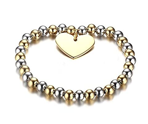 Vnox pour femme 2tons Billes en acier inoxydable Cœur Bracelet or, argent, 20.5cm, largeur: 6mm