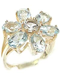 Solid English Sterling Silver Ladies Large Natural Aquamarine Flower Ring