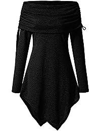 YWLINK 2018 Damen Kleidung,Plus GrößE Frau Mode Solide Gerafft Lange DarüBer Falten Halsband Tunika IrreguläR Oben Bluse Oberteile Pullover