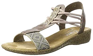 Rieker Damen 61662 Offene Sandalen mit Keilabsatz, Beige (Beige/Rose / 60), 36 EU