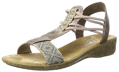 Rieker Damen 61662 Offene Sandalen mit Keilabsatz, Beige (beige/rose/60), 37 EU