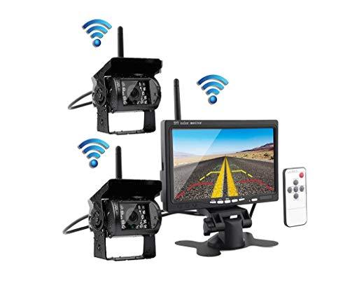 Wireless-Rückfahrkamera-Systemkit, 7 Zoll 1080P, der Monitor + IP69 wasserdichte Rückfahrkamera, Bus/Truck/Trailer/RV/Camper umkehrt (über Led Licht-kit 80 Trailer)