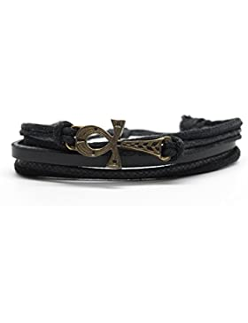 Ankh Rope and Leather Adjustable Unisex Charm Armband