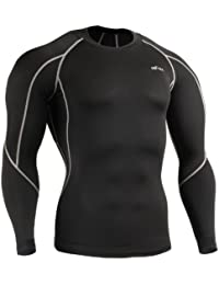 emFraa Homme Femme Sport Compression Black Base layer T-Shirt Longsleeve S~2XL