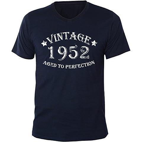 Mister Merchandise Uomo T-Shirt Vintage 1952 - Aged to Perfection Men Maglietta Camicia V-Neck