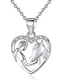 6e910d092d Collana ciondolo cavallo da ragazza Collana in argento 925 pendenti donna  gioielli con zirconi catenina 18