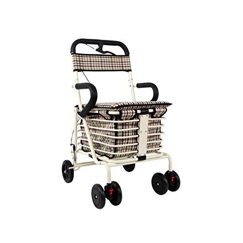 CHENG Gehhilfe mit gepolstertem Sitz Abschließbare Bremsen Ergonomische Griffe Hilfe bei eingeschränkter Mobilität,White,43 * 53 * 88cm
