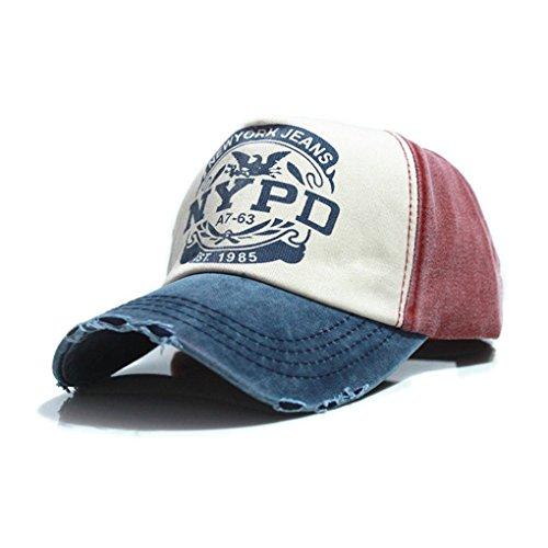 EROSPA® Basecap NYPD Baseball Cap mit ausgefranzter Optik - Männer Herren - Denim Vintage Style -Used wash Look - dunkelrot/Jeansblau/beige - (Einheitsgröße) -