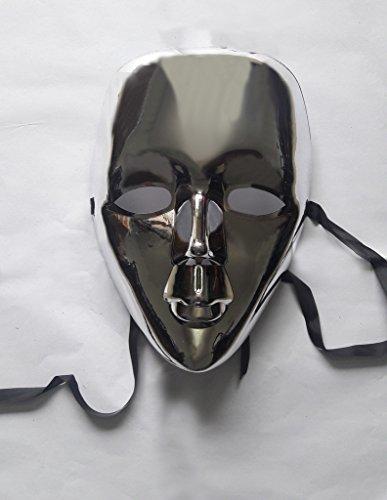kraftz bunt® glänzendem Face Maske Halloween Masquerade Hen & Stag Party Geburtstag Weihnachten Fancy Dress Prop Zubehör silber