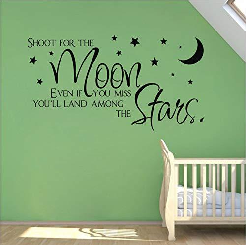 WFYY Shoot The Moon Star Zitat Wandaufkleber für Kinderzimmer Dekor, Baby Wandtattoo