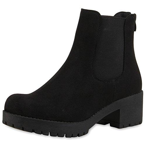SCARPE VITA Damen Chelsea Boots Blockabsatz Plateau Stiefeletten Leder-Optik 165389 Schwarz Velours 36