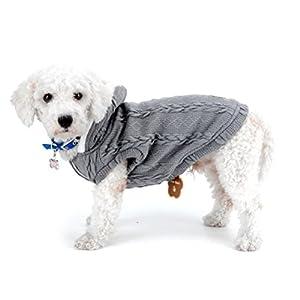 Zunea Pull Manteau pour chiens de petite taille classique Doublure polaire à capuche câble en tricot doux et chaud de Noël Tasse de thé Yorkshire Chihuahua Vêtements tenues Vêtements