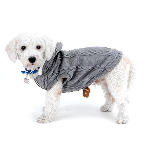 Classic Leinen Hut (zunea Pullover Mantel für kleine Hunde Classic Fleece gefüttert mit Kapuze Kabel Strick Weich Warm Weihnachten Teetasse Yorkie Chihuahua Kleidung Outfits Apparel)