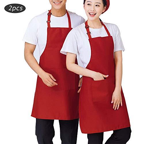SERWOO 2 Piezas Delantales Rojo Oscuro Cocina Chef