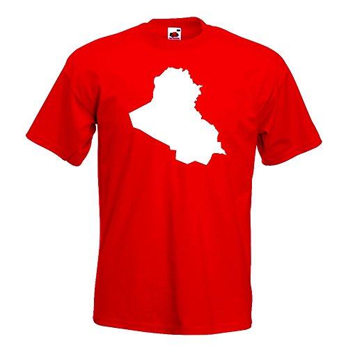 Kiwistar Irak Umriss Kontur T-Shirt in 15 Verschiedenen Farben - Herren Funshirt Bedruckt Design Sprüche Spruch Motive Oberteil Baumwolle Print Größe S M L XL XXL