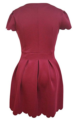 La Vogue Robe Patineuse Plissée Décolleté Manche Court à Volant Pétale Rouge