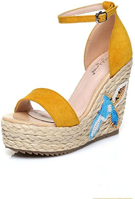 BaiLing Sandali di estate delle delle delle donne cuneo Heel handmade lavorato a maglia paglia impermeabile ricamo scarpe...   Prima classe nella sua classe    Scolaro/Signora Scarpa  75c0fc