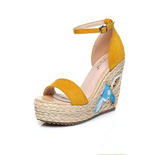 BaiLing Damen Sommer Sandalen / Wedge Ferse handgefertigte gestrickte Stroh wasserdicht / Stickerei kleine Größe Schuhe Yellow