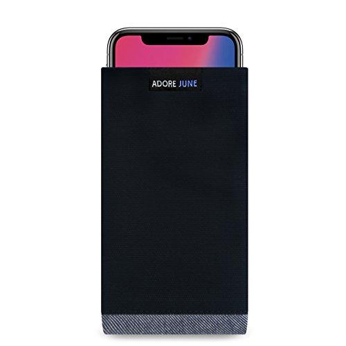 Adore June Apple iPhone X Hülle, (Serie Bold) Hochwertige Tasche aus characteristischem Material für iPhone X - Schwarz