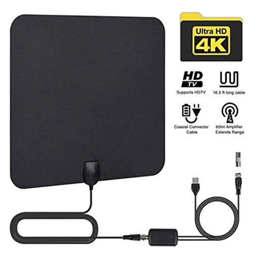 SuRose TV Antenne HD, Ultradünne Bodenwellen-Digitalfernsehantenne für den Innenbereich, Die Gesamtlänge des Kabels beträgt 4 Meter. Mit Einem abnehmbaren Verstärker-Signalverstärker