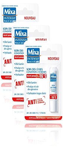 Mixa Corps Intensif Peaux Sèches Stick Lèvres Extrême 16°C Lot de 3 x 4,7 ml