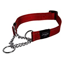 Rogz Utility Medium 5/8-Inch Reflective Snake Obedience Half-Check Dog Collar, Red