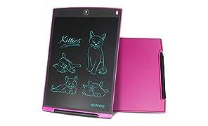 NEWYES NYWT120 - Tableta de Dibujo con Pantalla LCD de 12 Pulgadas (Incluye 1 lápiz Inteligente, 2 imanes para Nevera 30 días de Servicio de devolución de Dinero), Color Rosa