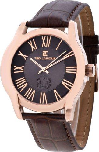 Ted Lapidus 5120302 - Reloj para hombres, correa de cuero color marrón