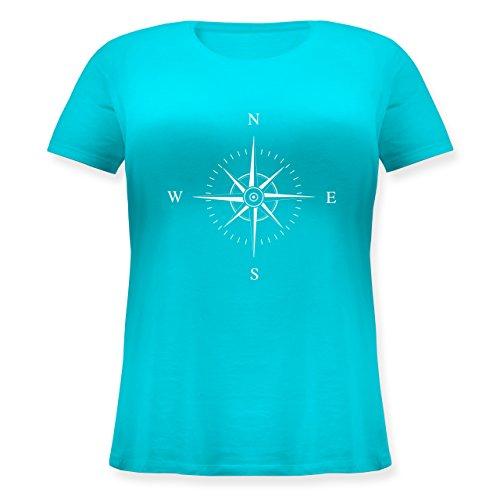 Shirtracer Statement Shirts - Kompassrose - Lockeres Damen-Shirt in Großen Größen mit Rundhalsausschnitt Türkis