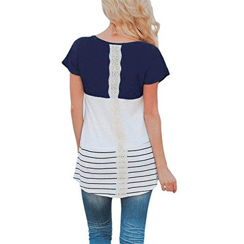 CYBERRY.M T-shirt Été Femme Casual Manches Courtes Rayé Plage Longues Robe de Chambre Tee Blouse Bleu foncé