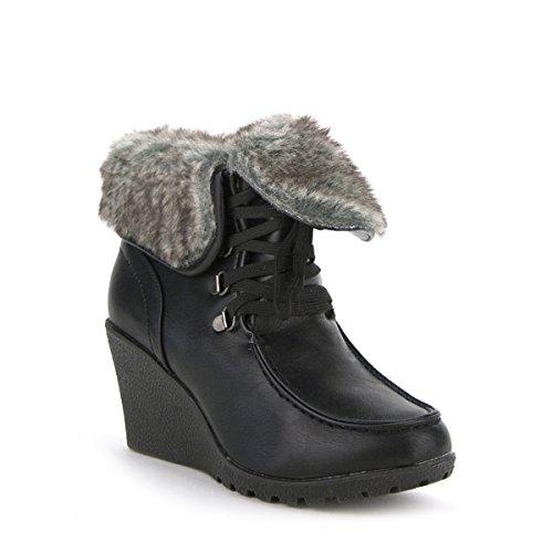 Cendriyon, Bottine Fourrée Noire ANGELINE Chaussures Femme Noir