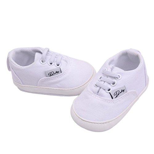 Unisex Baby Sneakers, OverDose Neugeborene Säuglingsbaby Mädchen-Jungen-Krippe schuhe Weiche alleinige Anti Rutsch Turnschuh Segeltuch Schuhe Weiß