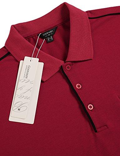 Burlady Poloshirt Tshirt Herren Polohemd Langarmshirt Sweatshirt Sport Langarm Shirts Freizeit Polokragen Männer Viele Stile D-Winerot