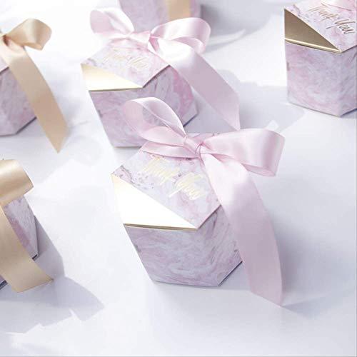 Creativo romantico abbronzante modello in marmo con nastro di raso caramelle confezione regalo di cioccolato matrimonio con confezione regalo a mano puntelli per feste di compleanno30pz-rosa
